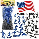 TimMee PLASTIC ARMY MEN: Black vs Blue 96pc Soldier Figures - Made in USA