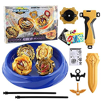 Bey Burst Starter Battling Top Fusion Metal Master Rapidity Fight with 4D Launcher Grip Set(4 in 1): Toys & Games