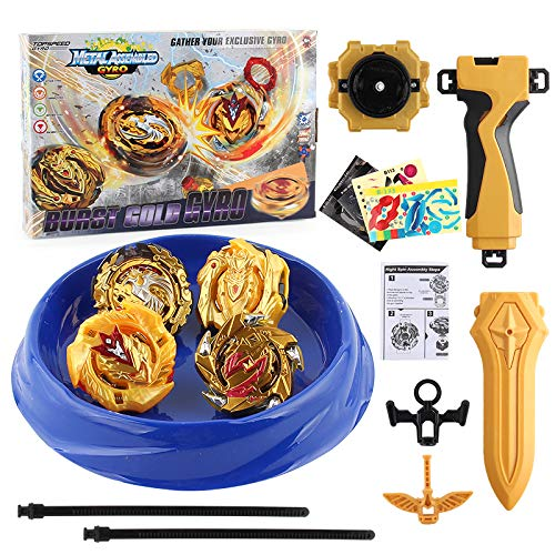 NT-158-10-Bey Battle Battling Tops Burst Gyro Evolution Attack Set with 4D Launcher Grip Starter and Stadium(Gold)