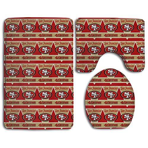Marrytiny Design Colorful Non Slip 3 Piece Doormat American Football Team San Francisco 49ers Anti-Skid Bathroom Rug Set Bath Mat + Contour Rug + Toilet Lid Cover