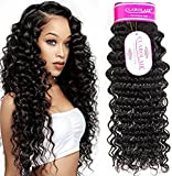 CLAROLAIR Unprocessed Brazilian Virgin Hair Extensions Real Hair Weft Brazilian Curly Human Hair Weave Brazilian Deep Curly Hair virgin brazilian hair One Bundle Natural Color (100+/-5g)/pc 12 Inch