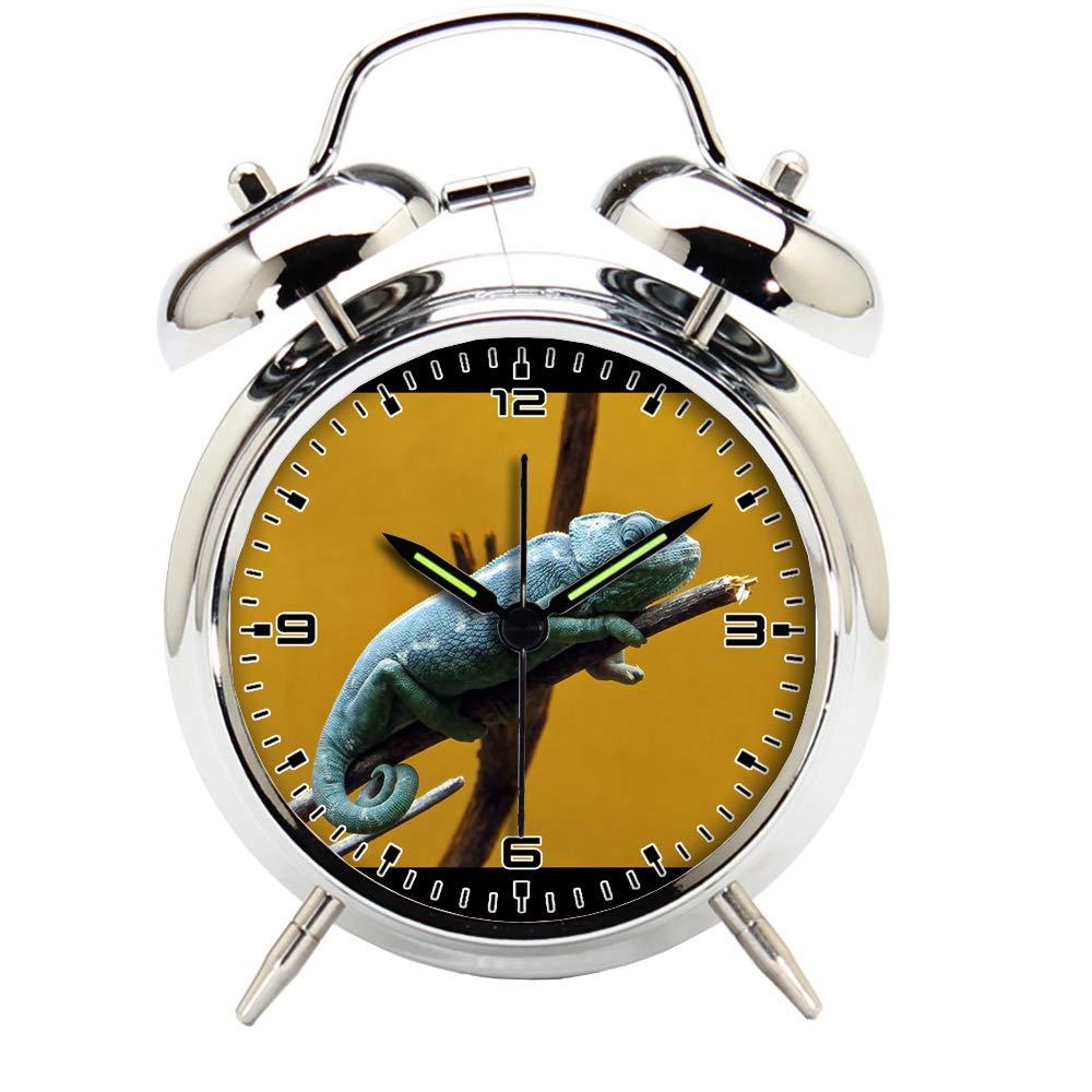 Children's Room Silver Dinosaur Silent Alarm Clock Twin Bell Mute Alarm Clock Quartz Analog Retro Bedside and Desk Clock with Nightlight-724.839_Chameleon, Reptile, Dinosaur, Colors, Animal, Blue
