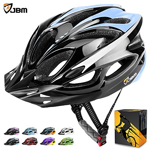 JBM international JBM Adult Cycling Bike Helmet Specialized for Mens Womens Safety Protection Red/Blue/Yellow (Black & Blue, Adult)