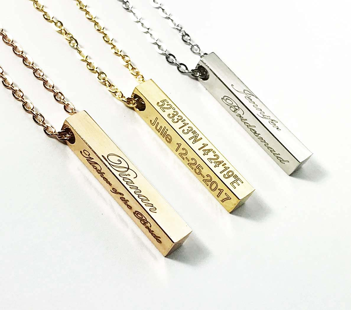 Minimalist Jewelry Bridesmaid, Anniversary gift,Custom name, Inspirational, Coordinates Vertical Bar Necklace -Engraved Rose Gold plated Necklace Pendant-4DS