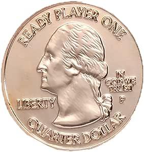 Mesky EU Moneda de Colección Vintage Accesorio con Caja Colección de Ready Player One Lucky Coin Adorno de Navidad: Amazon.es: Hogar