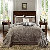 3 Piece 120 x 118 Oversized Blue Brown King Bedspread To The Floor Set, Extra Long Jacquard Paisley Bedding Xtra Wide Drops Over Edge Frame, Drapes Down Sides Hangs Over Bed, Polyester
