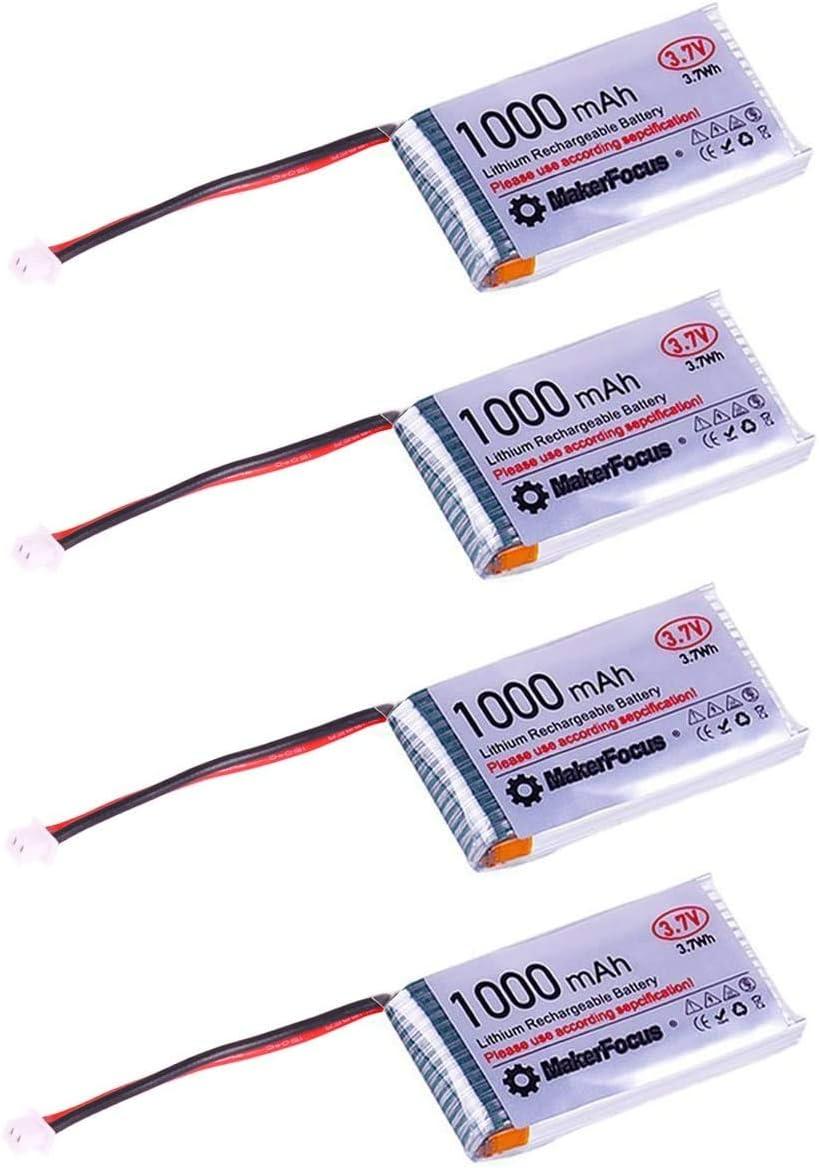MakerHawk 4pcs 3.7V 1000mAh Batería recargable de litio Lipo Baterías con Micro JST 1.25 Enchufe, Tablero de protección y revestimiento de aislamiento para Arduino Nodemcu ESP32 Development Board