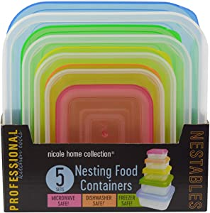 Nicole Home Collection Square Nestable Food Containers with Lids | Pack of 5, Multi Square
