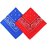 Umo Lorenzo 2 Color Pack Bandanas for Men & Women Blue & Red or Black & White