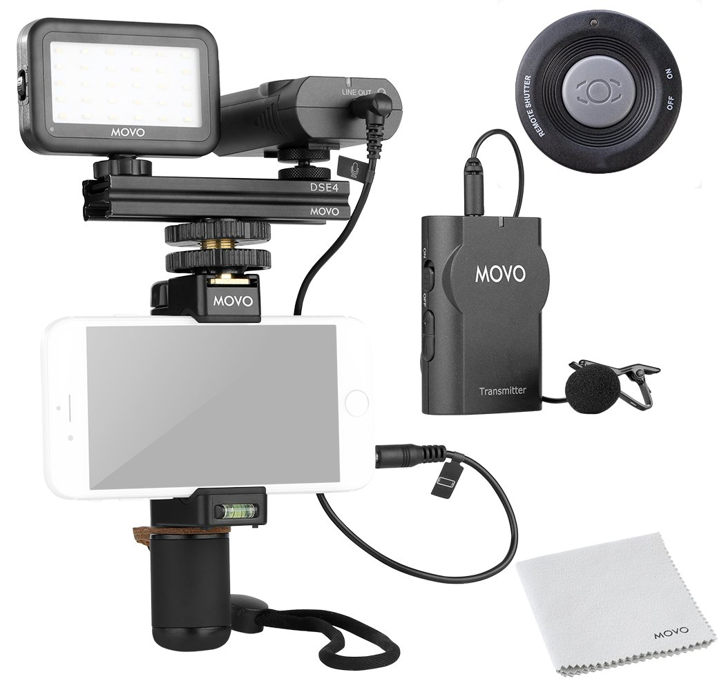 Movo Smartphone Video Kit V2 with Grip Rig, Wireless Lavalier Microphone, LED Light and Wireless Remote - YouTube Equipment for iPhone 5, 5C, 5S, 6, 6S, 7, 8, X, XS, XS Max, Samsung Galaxy, Note by Movo