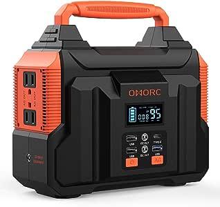 OMORC 300W Portable Power Station, Pure Sine Wave Camping Generator, Orange