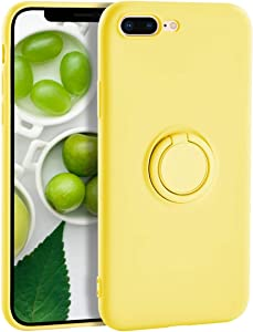 iPhone 7 Plus Case Silicone iPhone 8 Plus Case,Yoopake Liquid Silicone Case with Ring Holder Kickstand Work with Magnetic Car Mount Shockproof Soft Slim Fit Phone Cover Case for Apple 8 Plus,Yellow