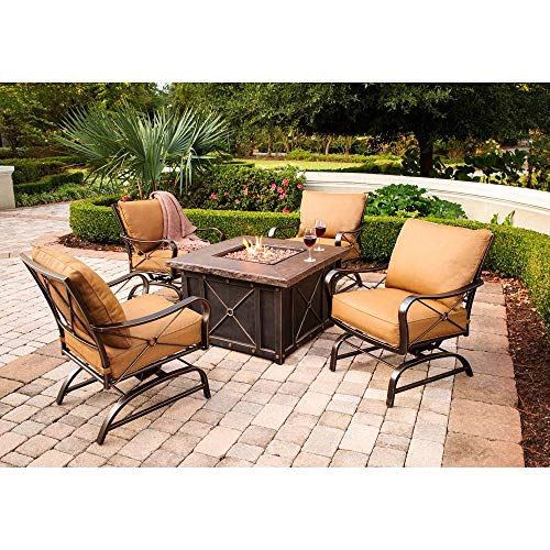 - Fire Pit Set. 5 Piece Outdoor Porch, Lawn, Pool, Garden, Balcony Diner, Conversation, Seating, Bistro, Chat Aluminum, Steel Furniture Kit. Outside Square Table, Chairs, Cushions (Brown fire Pit)