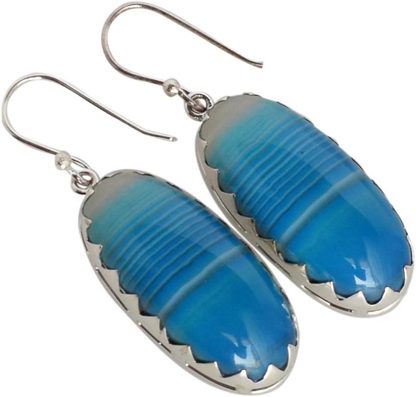 Pendientes de plata de ley 925 con ágata azul celeste exótica para niñas FSJ-1250