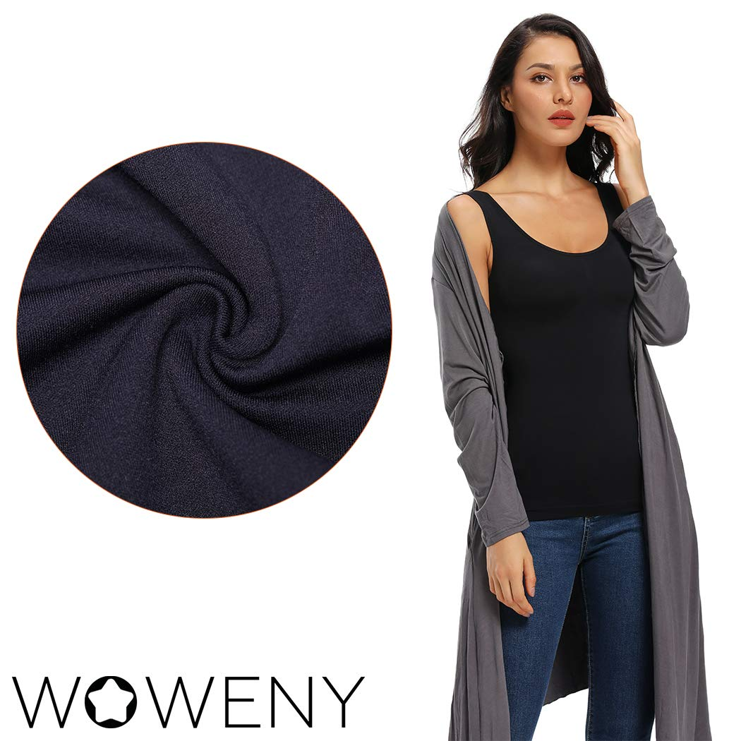 WOWENY Thermal Camisole Tops Underwear for Women Warm Winter Basic Cami Sleeveless Tank Tops Black