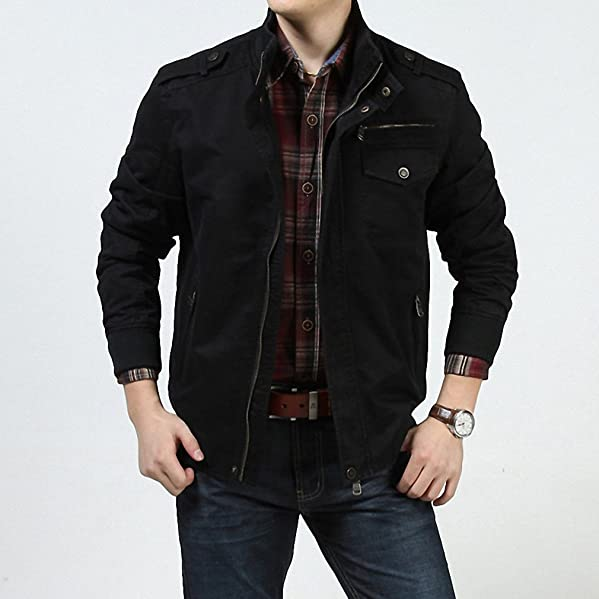 Amazon.com: Men Autumn Jacket Men Casual Loose Stand Collar Army Military Jackets Plus Size M-3XL Windbreaker chaqueta hombre: Clothing