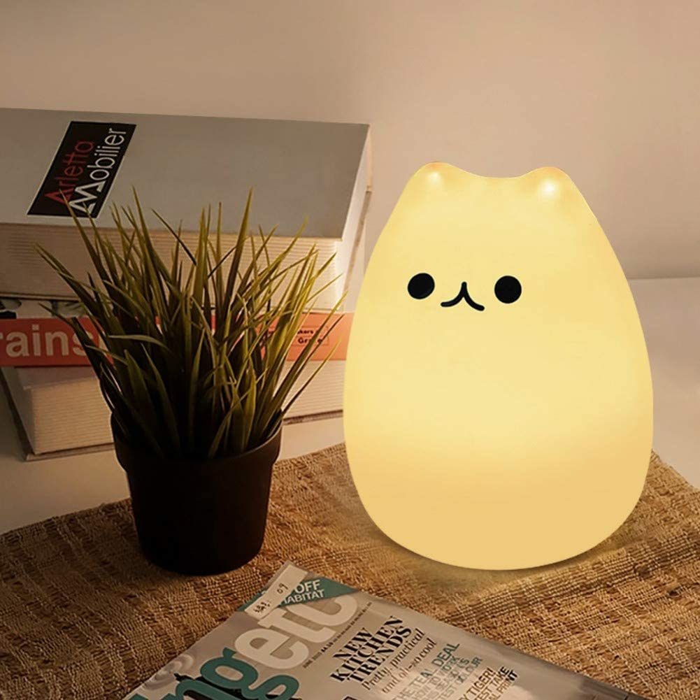 LYYWE USB Rechargeable Cute 7 Colors Cat Animal Silicone Touch Sensor LED Table Lamp Bedroom Bedside Home Desk Decoration Kids Gift,Lucky CatVeilleuse Cute Cat