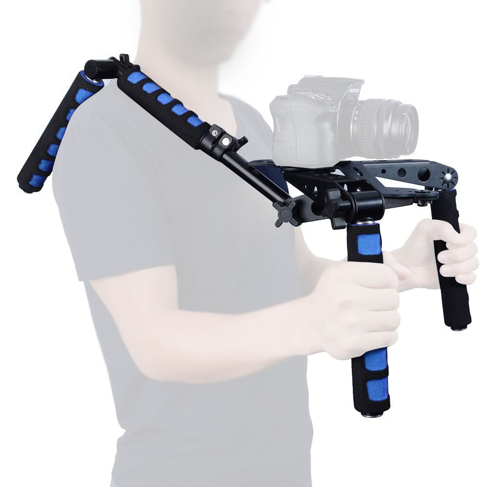 Mcoplus 107D Foldable DSLR Shoulder Rig Set Movie Kit Camera Shoulder Support Mount System for Canon Nikon Sony Panasonic Sony DSLR Cameras & Video Camcorders(Blue)