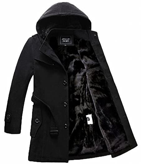 Zago Mens Winter Warm Fleece Lined Belt Hooded Wool Trench Pea ...