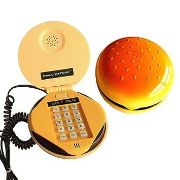 Official Website Novelty Emulational Hamburger Telephone Wire Landline Phone Home Decoration Telephones 2018 New Style Telephones