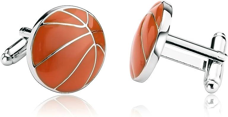 Beydodo Gemelos Camisa Hombre Baloncesto Gemelos Acero para Camisa Gemelos Camisa Hombre Naranja: Amazon.es: Joyería