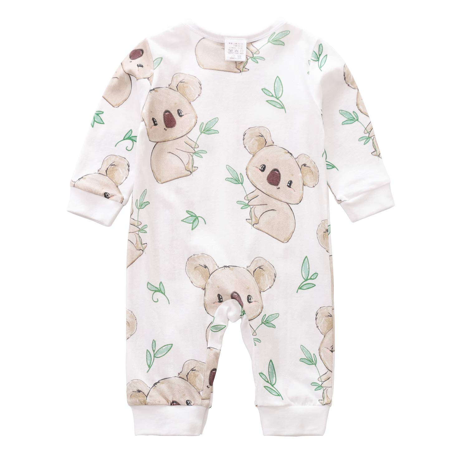 Beal Shopping Newborn Baby Boy Girl Romper Small Toddler Cute Koala Print Summer Long Sleeve Jumpsuit Clothes