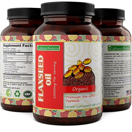 Natural And Pure Flaxseed Oil Softgels - Helps Relieve Constipation And Keeps The Digestive System Healthy - Weight Loss Supplements - Potent Source Of Omega 3 + Oleic Acid By California Products