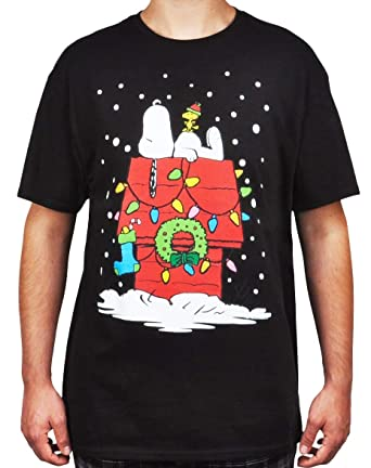peanuts mens t shirt snoopy christmas dog house print small black - Snoopy Christmas Shirt