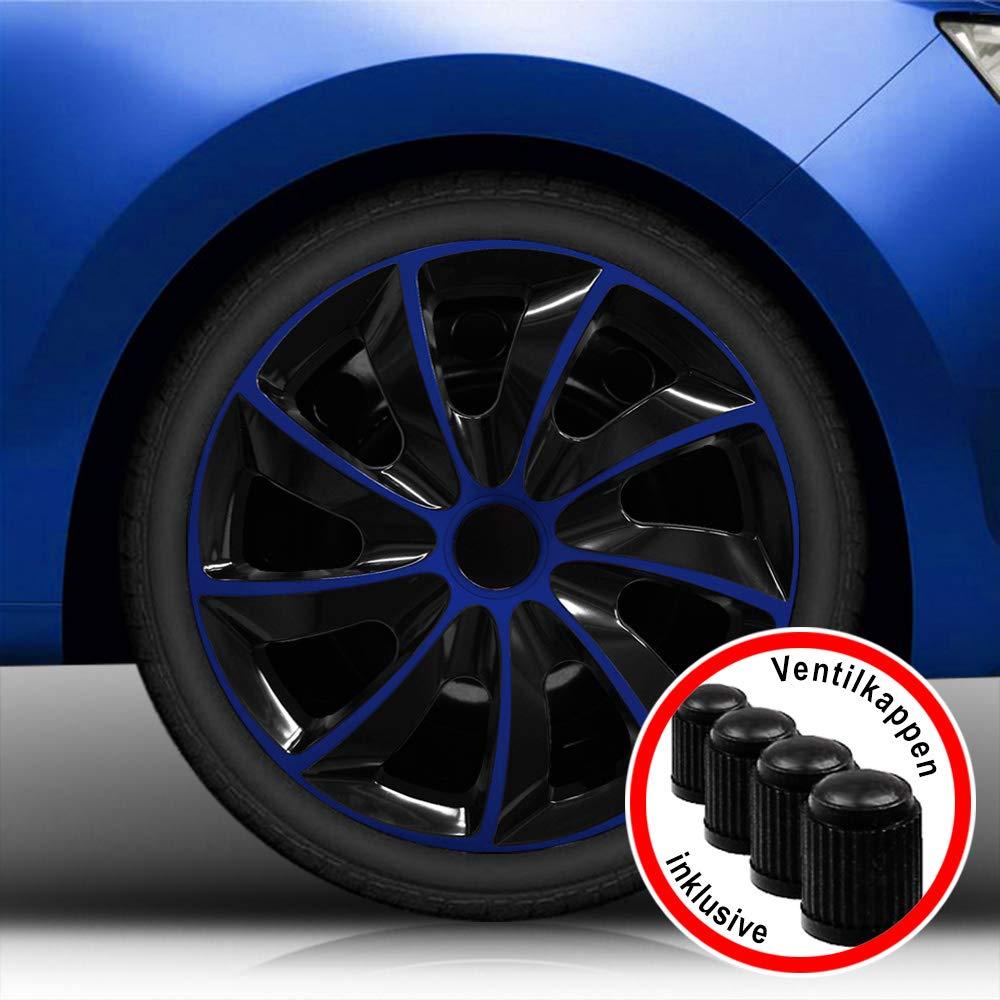 (Farbe & Größe wählbar) 14 Zoll Radkappen, Radzierblenden Quad Bicolor (Schwarz/Pink) passend für fast alle Fahrzeugtypen (universal)