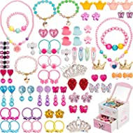 Gejoy 80 Pieces Girls Dress Up Accessories with Jewelry Box Girls Princess Jewelry, Necklace,...