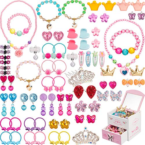 Gejoy 80 Pieces Girls Dress Up Accessories with Jewelry Box Girls Princess Jewelry, Necklace, Bracelet, Rings, Clip on Earrings, Hair Clips, Hair Ties, Mini Hair Claws (Style -