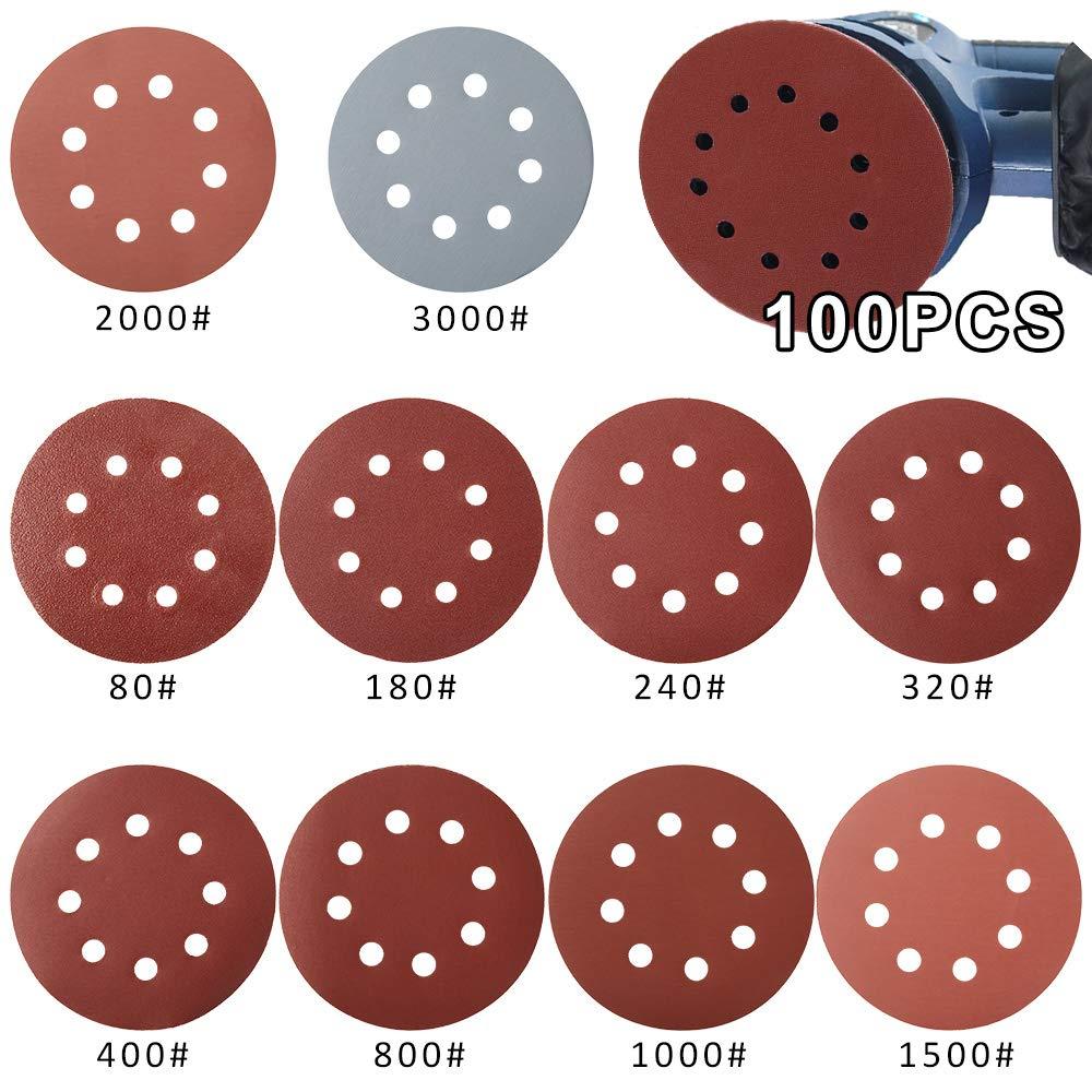 100 Pezzi Dischi Abrasivi /Ø 125mm Carte Abrasive per Levigatrice Grana da 10x 80//180//240//320//400//800//1000//1500//2000//3000