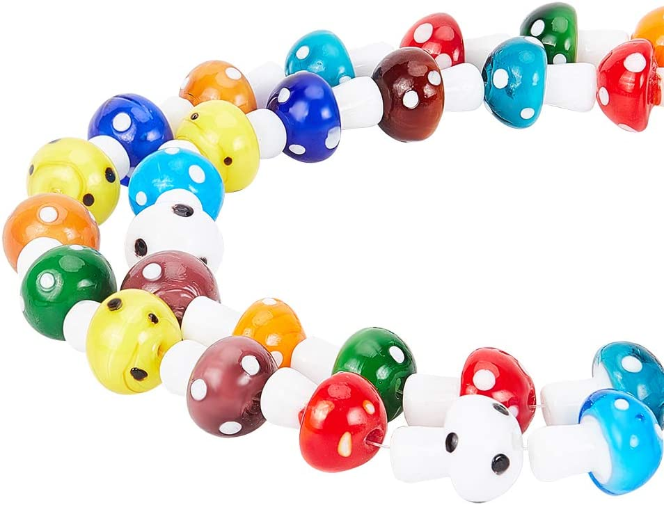 Mushroom necklace glass beads pendant Handmade custom jewelry Lampwork beads Boro beads