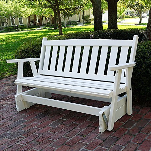 Porchgate Amish Made Mission White Porch Glider (5 Foot) - Amish Bench