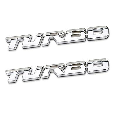 TK-KLZ 2Pcs 3D Metal TURBO Premium Car Side Fender Rear Trunk Emblem Badge Decals for JEEP BMW Dodge Mercedes Benz Chrysler Toyota Honda Nissan Kia VW Chevrolet Ford (Silver): Automotive