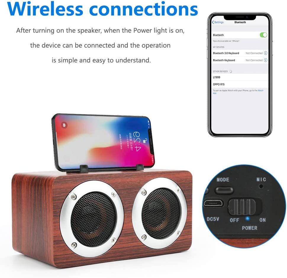 AUX Jhua Wireless Bluetooth Speaker Double Loudspeakers Portable Speaker Wooden Surround Speaker Support TF Card Premium Stereo Soundbox for Home Party Office Outdoor Activities