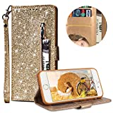 """Luxury Glitter Bling Zipper Wallet Phone Case for iPhone 6/iPhone 6s 4.7"""", MOIKY Bookstyle PU Leather Flip Folio Magnetic Purse Pockets Credit Card Holder Wrist Strap Case Cover for iPhone 6/iPhone 6s 4.7"""" - Gold"""