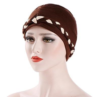 627a36e7aeb Kingko ® Women s Muslim Twist Stretch Turban Hat Chemo Beanie Cap Hair Loss  Head Wrap Hijab