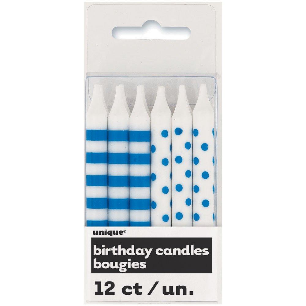 Royal Blue Polka Dot & Striped Birthday Candles, 12ct