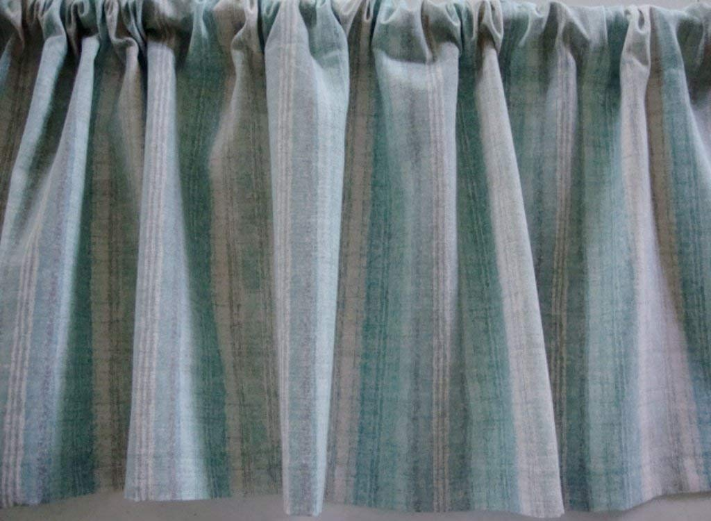 Valance Teal Gray and White Stripes Custom Made Window Treatment Topper