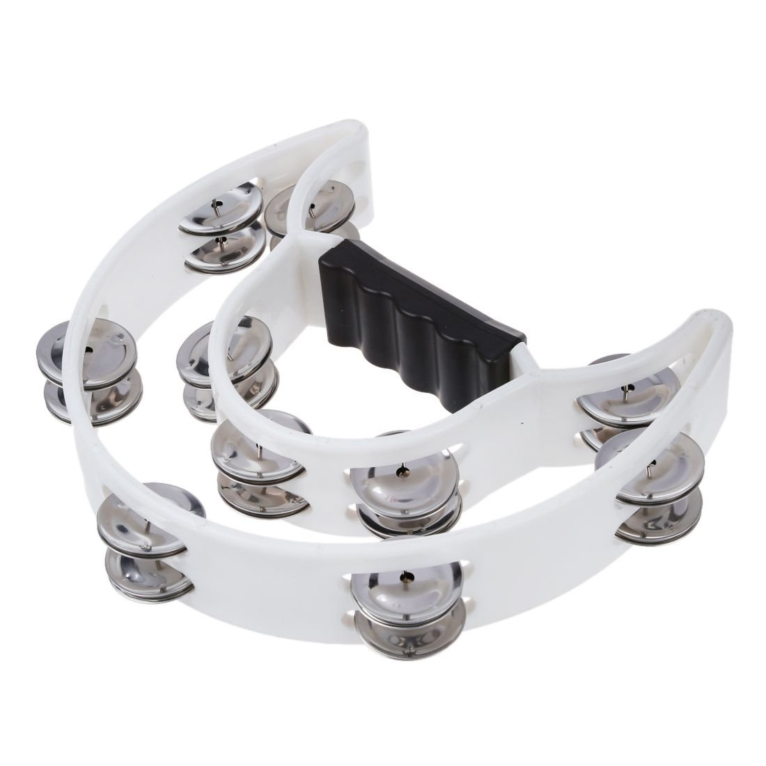 SODIAL(R) Double Row Jingles Half Moon Musical Tambourine Percussion Drum White Party KTV 045768