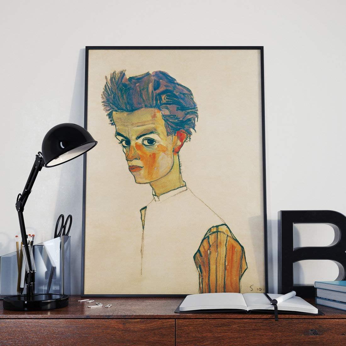 Erti567an Egon Schiele Autoportrait avec chemise ray/ée Egon Schiele Art Egon Schiele Peinture expressionniste Egon Schiele Prints Egon Schiele Prints Egon Schiele Prints Egon Poster