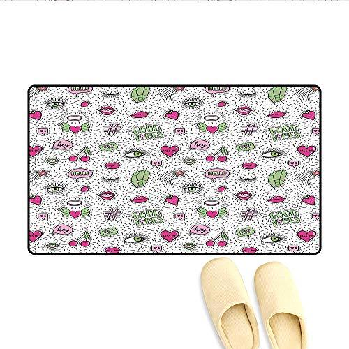 Bath Mat Eighties Nineties Style Pattern Eyes Lip Star Strawberry Cherry Pop Art Doormat Outside Pink Green Black 16