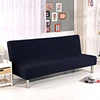 Solid Colour Armless Sofa Bed Cover Polyester Spandex Stretch Futon Slipcover Protector 3 Seater Elastic Full Folding…