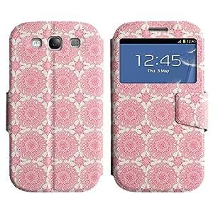 LEOCASE Flores De Color Rosa Funda Carcasa Cuero Tapa Case Para Samsung Galaxy S3 I9300 No.1000682