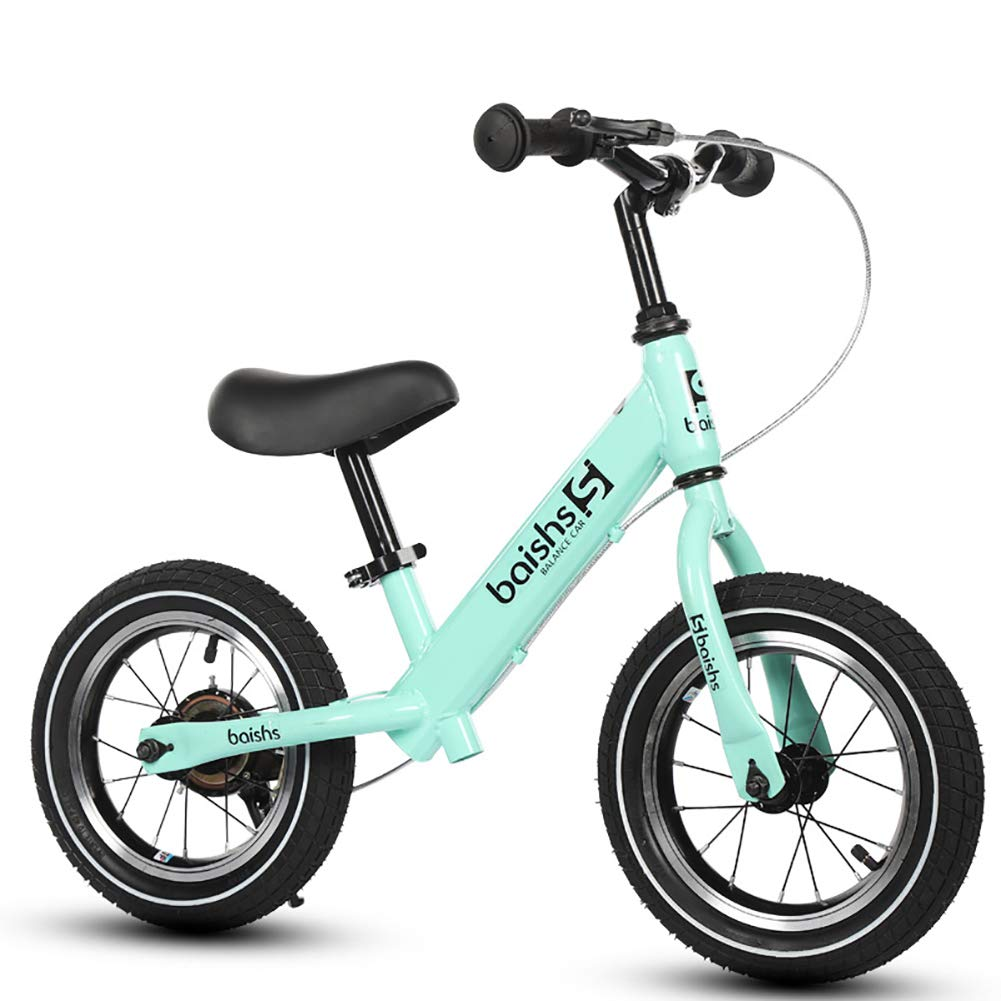 FJ-MC 12  Laufrad, Kein Pedal, mit Handbremse und Luftreifen, Unisex Walking-Trainingsfahrrad, 30kg Kapazität, für 2-5 Jahre alte Kinder,Weiß Grün