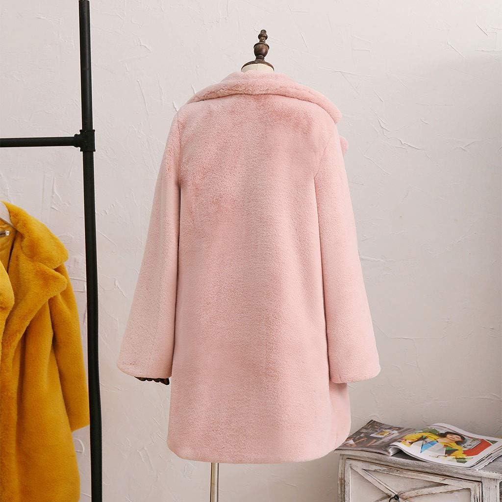 Fashion Women Solid Medium Long Windbreaker Turn-Down Warm Plush Coat