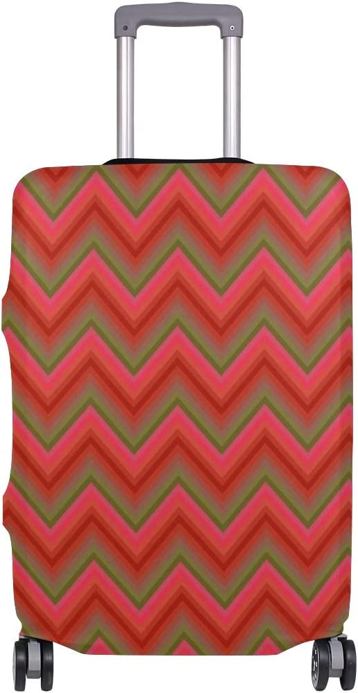 Cute Red Chevron Print Luggage Protector Travel Luggage Cover Trolley Case Protective Cover Fits 18-32 Inch