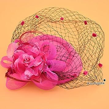 MDRW-Tocado Nupcial De La Horquilla Del Salón De Bodas Retro el hilo la cabeza sombrero escenario y el velo de las placas Rosa Olici