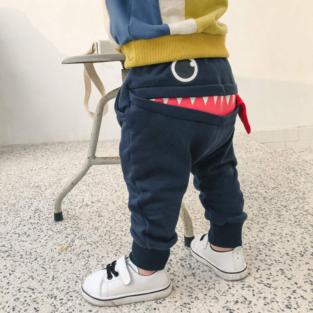 Baby Pants Girls Boys Cartoon Shark Tongue Harem Pants Toddler Thick Warm Trouser for 0-3 Years Old Kids Solid Pants Leggings